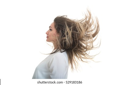 the girl with the developing hair on a white background