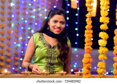 Girl with Diwali Lamp, Diwali Festival