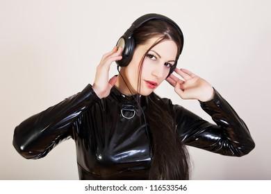 Girl DJ with headphones on her head