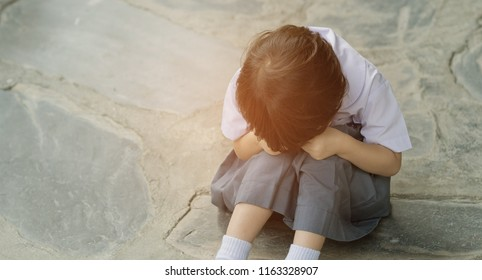 girl do not want to go to school, mother hit her kid, children crying, little girl cry, feeling sad, unhappy, family violence concept, selective focus and soft focus