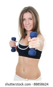 The girl does exercises with dumbbells isolated