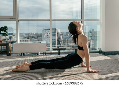 A girl does yoga exercise in the dog face up pose in the white yoga studio with panoramic windows overlooking the city.Concept of healthy lifestyle.