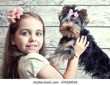 A girl with a dog