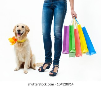 Girl with the dog and packages
