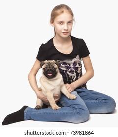 girl and dog pug