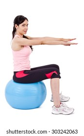 girl doing crunches on fitness ball