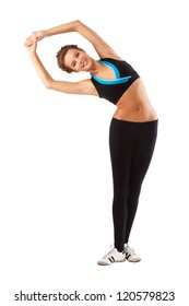 Girl doing exercise, stretching