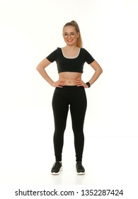 girl doing fitness on a white background.