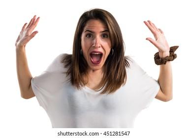 Girl doing surprise gesture