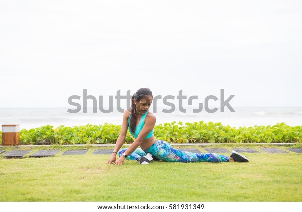 Girl doing yoga in Bali, Indonesia