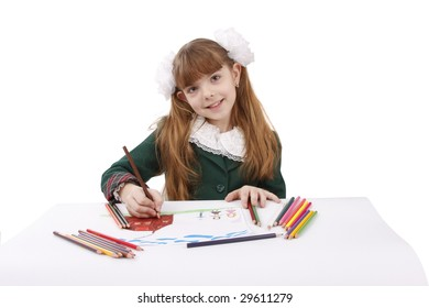 Girl is drawing  in pencil. Schoolgirl is painting her family in bright colours. Isolated over white background.