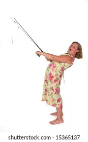 girl in dress with fishing rod