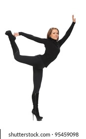 girl dressed in black white athletic exercises on a white background