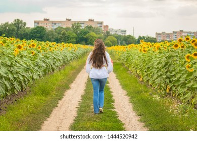 A girl dressed in a national Ukrainian shirt (vyshyvanka), goes sunflower field in the afternoon