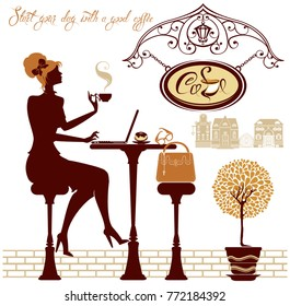 Girl drink coffee and work with laptop, sitting in street cafe. Element for restaurant, bar menu design. Business woman silhouette.