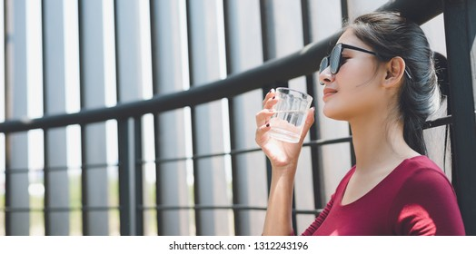Girl drinking water, Drink water For healthy concept.