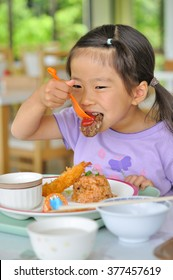 Girl eat dinner menu for children