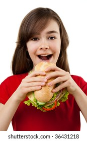Girl eating healthy sandwiches isolated on white background