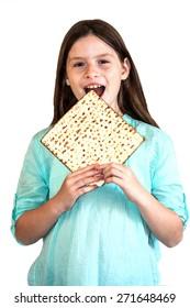 girl eating a matza