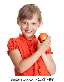 girl eating red apple isolated
