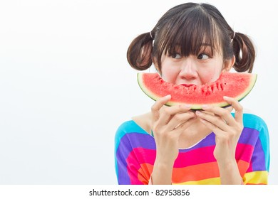 Girl eating watermelon  isolate on white background.