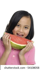 girl eating Watermelon isolated