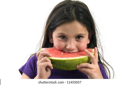 girl eating Watermelon isolated on white background