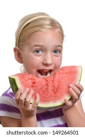 girl eating a watermelon white background