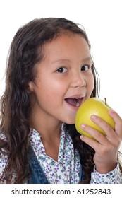 Girl eats apple