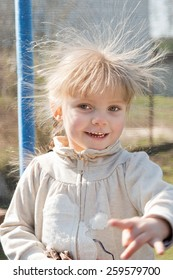 girl with electrified hair