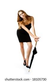 The girl in an elegant black dress
