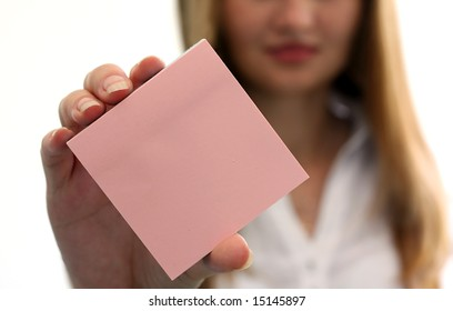 Girl with empty note pad in the hand