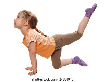 The girl is engaged in art gymnastics.Pleasure from playing sports