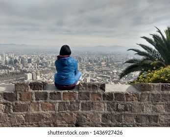 Girl enjoy the city view, Chile