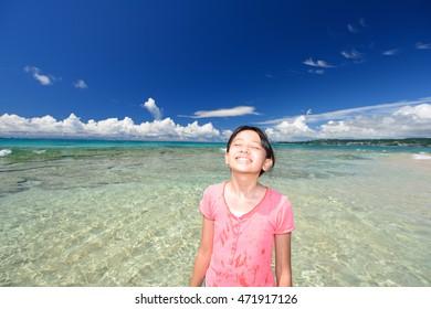 Girl enjoy the sun
