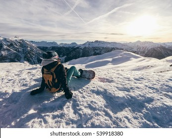 Girl Enjoy the view on the top the french Alps