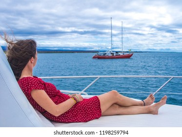 Girl enjoying a cruise in Galapagos islands