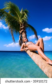 Girl enjoying her vacation on Jamaica