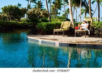 Girl enjoying pool in timeshare Marriott hotel