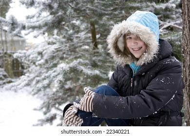 A girl enjoying a snow day