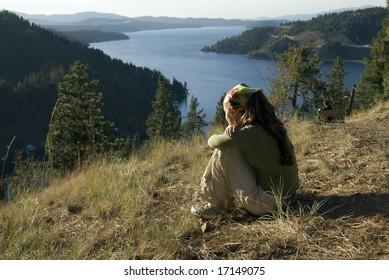 Girl enjoying views in Coeur D'Alene , Idaho