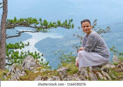 Girl enjoying in a womderful nature. Viewpoint Banjsa Stena, Tara