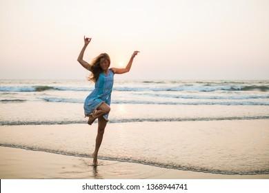 girl enjoys life on the beach