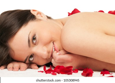 Girl enjoys spa with roses