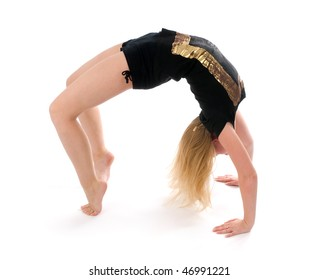 girl exercising on the floor isolated on the white background