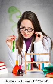 Girl experimenting with chemistry
