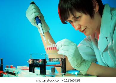 Girl experimenting with genetic material