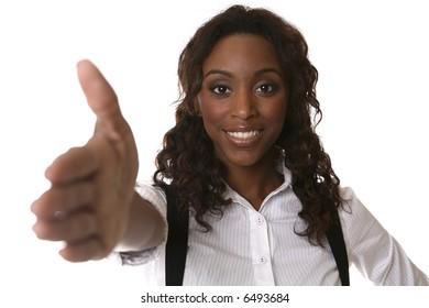 girl extending hand for shake