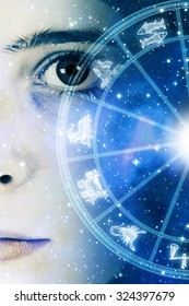girl face and astrology chart with zodiac signs