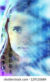 girl face with binary code, concept for digital native kids